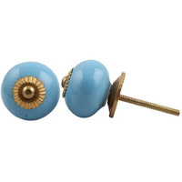IndianShelf Handmade 19 Piece Ceramic Blue Solid Vintage Furniture Drawer Knobs/Wardrobe Door Pulls