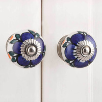IndianShelf Handmade 21 Piece Ceramic Turquoise Flower Rust Free Drawer Kitchen Knobs/Cabinet Pulls