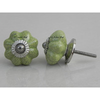 IndianShelf Handmade 21 Piece Ceramic Green Crackle Melon Antique Look Drawer Room Knobs/Dresser Door Pulls