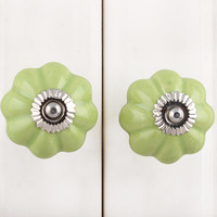 IndianShelf Handmade 21 Piece Ceramic Green Melon Rust Free Drawer Kitchen Knobs/Cabinet Pulls
