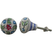 IndianShelf Handmade 21 Piece Ceramic White Floral Stripes Bulb Shape Rust Free Drawer Kitchen Knobs/Cabinet Pulls