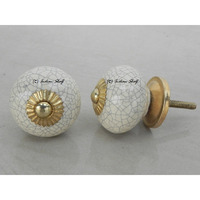 IndianShelf Handmade 21 Piece Ceramic Cream Crackle Vintage Dresser Knobs/Cabinet Kitchen Pulls