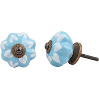 IndianShelf Handmade 21 Piece Ceramic Turquoise Two Leaf Rust Free Drawer Kitchen Knobs/Cabinet Pulls