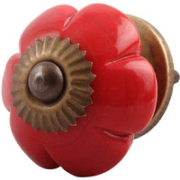 IndianShelf Handmade 21 Piece Glass Red Melon Flower Antique Look Drawer Room Knobs/Dresser Door Pulls