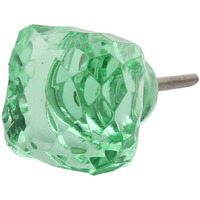 IndianShelf Handmade 21 Piece Glass Green Square Cut Rust Free Drawer Kitchen Knobs/Cabinet Pulls