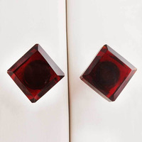 IndianShelf Handmade 21 Piece Glass Red Square Rust Free Drawer Kitchen Knobs/Cabinet Pulls