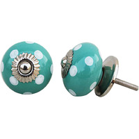 IndianShelf Handmade 21 Piece Ceramic Green Dotted Antique Look Drawer Room Knobs/Dresser Door Pulls