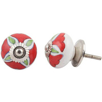 IndianShelf Handmade 21 Piece Ceramic Red Hibiscus Vintage Dresser Knobs/Cabinet Kitchen Pulls