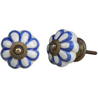 IndianShelf Handmade 21 Piece Ceramic Blue Flower Antique Look Drawer Room Knobs/Dresser Door Pulls