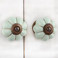 IndianShelf Handmade 21 Piece Ceramic Green Melon Solid Rust Free Drawer Kitchen Knobs/Cabinet Pulls