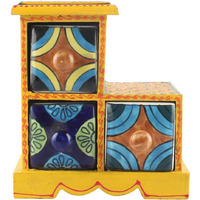 IndianShelf Handmade Multicolor Wooden Jewellery Rack/Container/Organizer /Box/Container - Three Drawers (SB-1009)