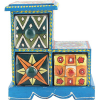 IndianShelf Handmade Multicolor Wooden Jewellery Rack/Container/Organizer /Box/Container - Three Drawers (SB-1001)