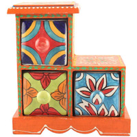 IndianShelf Handmade Multicolor Wooden Masala Rack/Container/Organizer /Box/Container - Three Drawers (SB-991)