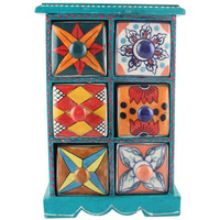 IndianShelf Handmade Multicolor Wooden Spice Rack/Container/Organizer /Box/Container - Six Drawers (SB-1142)