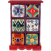 IndianShelf Handmade Multicolor Wooden Jewellery Rack/Container/Organizer /Box/Container - Six Drawers (SB-1105)