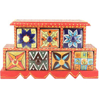 IndianShelf Handmade Multicolor Wooden Seasoning Masala Rack/Container/Organizer /Box/Container - Seven Drawers (SB-888)