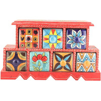 IndianShelf Handmade Multicolor Wooden Spice Rack/Container/Organizer /Box/Container - Seven Drawers (SB-886)
