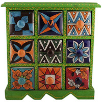 IndianShelf Handmade Multicolor Wooden Jewellery Rack/Container/Organizer /Box/Container - Nine Drawers (SB-802)