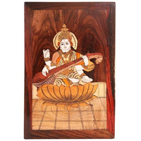IndianShelf Handmade Wood Rosewood Carving Saraswati Wooden Contemporary Painting Contemporary PT-69
