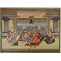 IndianShelf Handmade Painting of Royal Beloveds in Mughal Painting/ Wall Art PT-12