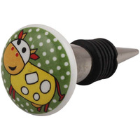 Indianshelf Handmade 2 Pieces Yellow Cow Flat Ceramic Wine Bottle Stopper Sealer Cover Rubber Metal Cap Indian Online (Piece: 2, Color: Yellow, Material: Ceramic)
