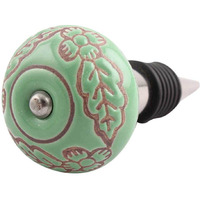 Indianshelf Handmade 4 Pieces Pea Green Leaf Flower Etched Ceramic Wine Cap Stopper Bottle Sealer Rubber Metal Cover Indian Online (Color: Green, Material: Ceramic, Piece: 4)