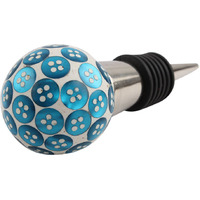 Indianshelf Handmade 5 Pieces Turquoise Button Resin Wine Cap Stopper Bottle Sealer Rubber Metal Cover Indian Online (Piece: 5, Color: Turquoise, Material: Resin)