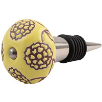 Indianshelf Handmade 5 Pieces Brown Marigold Etched Ceramic Floral Wine Bottle Stopper Sealer Cover Rubber Metal Cap Indian Online (Color: Yellow, Material: Ceramic, Piece: 5)