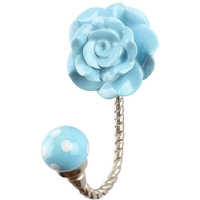 IndianShelf Handmade Turquoise Flower Ceramic Wall Hooks Cloth Coats Hangers Key Accessories Holders Online