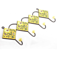 IndianShelf Handmade Yellow Forest Green Leaf Floral Tiles Ceramic Wall Hooks Cloth Coats Hangers Key Accessories Holders Online