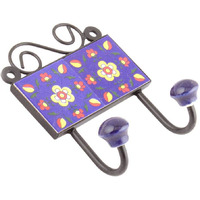 IndianShelf Handmade Navy Blue Floral Tiles Ceramic Wall Hooks Cloth Coats Hangers Key Accessories Holders Online
