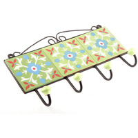 IndianShelf Handmade Sage Green Turquoise Tiny Flower Tiles Ceramic Wall Hooks Cloth Coats Hangers Key Accessories Holders Online