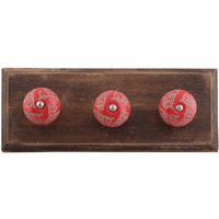 IndianShelf Handmade Red Calla Lily Brown Etched Wooden Wall Hooks Cloth Coats Hangers Key Accessories Holders Online