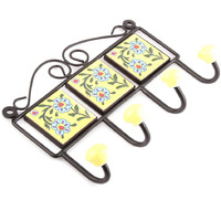 IndianShelf Handmade Yellow Turquoise Floral Tiles Ceramic Wall Hooks Cloth Coats Hangers Key Accessories Holders Online