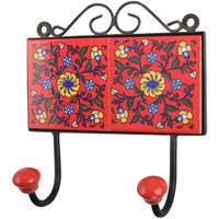 IndianShelf Handmade Red Yellow Floral Tiles Ceramic Wall Hooks Cloth Coats Hangers Key Accessories Holders Online