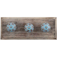 IndianShelf Handmade Turquoise Etched Floral Wooden Wall Hooks Cloth Coats Hangers Key Accessories Holders Online