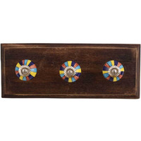 IndianShelf Handmade Rangoli Wooden Wall Hooks Cloth Coats Hangers Key Accessories Holders Online