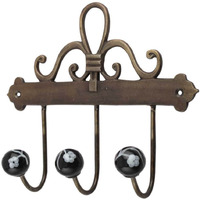 IndianShelf Handmade Black Floral Ceramic Wall Hooks Cloth Coats Hangers Key Accessories Holders Online
