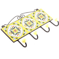 IndianShelf Handmade 2 Piece Yellow White Tiny Flower Tiles Ceramic Wall Hooks Cloth Coats Hangers Key Accessories Holders Online