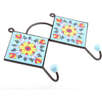 IndianShelf Handmade 2 Piece Turquoise Yellow Sun Flower Tiles Ceramic Wall Hooks Cloth Coats Hangers Key Accessories Holders Online