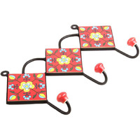 IndianShelf Handmade 2 Piece Red Yellow Floral Tiles Ceramic Wall Hooks Cloth Coats Hangers Key Accessories Holders Online