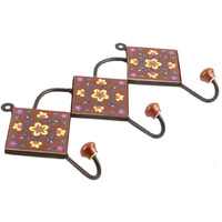 IndianShelf Handmade 2 Piece Brown Yellow Floral Tiles Ceramic Wall Hooks Cloth Coats Hangers Key Accessories Holders Online