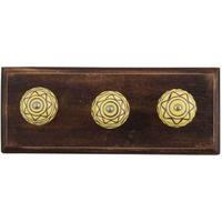 IndianShelf Handmade 2 Piece Brown Pattern Etched Wooden Wall Hooks Cloth Coats Hangers Key Accessories Holders Online