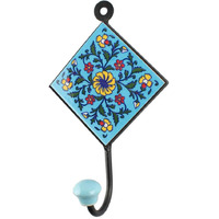 IndianShelf Handmade 3 Piece Turquoise Wheel Flower Tiles Ceramic Wall Hooks Cloth Coats Hangers Key Accessories Holders Online
