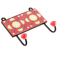 IndianShelf Handmade 3 Piece Red Yellow Sunflower Tiles Ceramic Wall Hooks Cloth Coats Hangers Key Accessories Holders Online