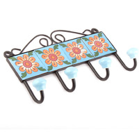 IndianShelf Handmade 3 Piece Turquoise Floral Tiles Ceramic Wall Hooks Cloth Coats Hangers Key Accessories Holders Online