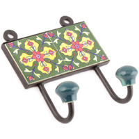 IndianShelf Handmade 3 Piece Forest Green Red Tiny Flowers Tiles Ceramic Wall Hooks Cloth Coats Hangers Key Accessories Holders Online