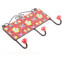 IndianShelf Handmade 3 Piece Red Floral Tiles Ceramic Wall Hooks Cloth Coats Hangers Key Accessories Holders Online