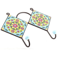 IndianShelf Handmade 3 Piece Turquoise Red Tiny Flower Tiles Ceramic Wall Hooks Cloth Coats Hangers Key Accessories Holders Online