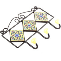 IndianShelf Handmade 3 Piece Yellow Forest Green Leaf Red Tiny Flower Tiles Ceramic Wall Hooks Cloth Coats Hangers Key Accessories Holders Online